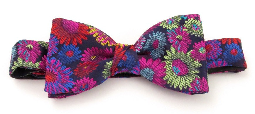 Limited Edition Cerise Blurred Flower Silk Bow Tie by Van Buck