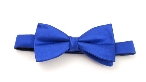 Royal Blue Plain Platinum Pre-Tied Silk Bow by Van Buck