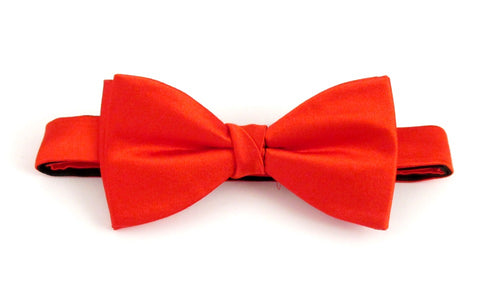 Red Plain Platinum Pre-Tied Silk Bow by Van Buck