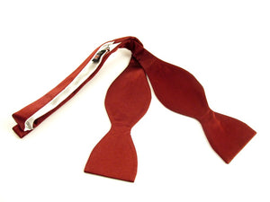 Burgundy Plain Platinum Self-Tied Silk Bow by Van Buck