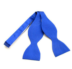Royal Blue Plain Platinum Self-Tied Silk Bow by Van Buck