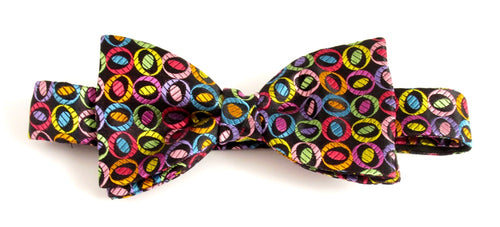 Van Buck Limited Edition Multicoloured Ovals Silk Bow Tie