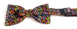 Limited Edition Multicoloured Ovals Pre-Tied Silk Bow by Van Buck