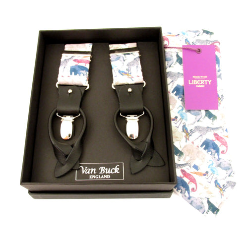 Queue For The Zoo Tie & Trouser Braces Set Made with Liberty Fabric