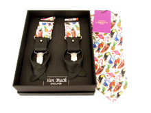 Birds of Paradise Tie & Trouser Braces set Made with Liberty Fabric