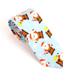 Blue Santa Cotton Christmas Tie by Van Buck