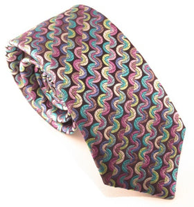 Limited Edition Thick Green Small Wave Silk Tie by Van Buck