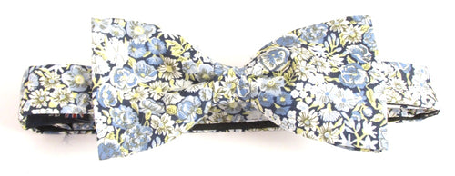 Blue Chive Liberty Print Cotton Pre-Tied Bow by Van Buck