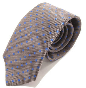 Grey Silk Tie with Blue Polka Dots by Van Buck