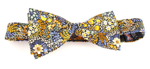 Elderberry Gold Bow Tie Made with Liberty Fabric