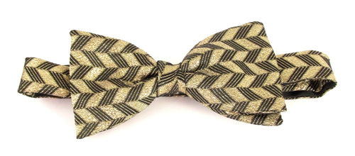 Gold Sparkly Zig Zag Pre-Tied Lurex Bow by Van Buck