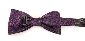 Purple Sparkly Brush Pre-Tied Lurex Bow by Van Buck