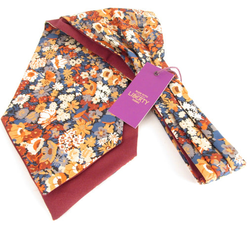 Thorpe Orange Liberty Print Cotton Cravat by Van Buck