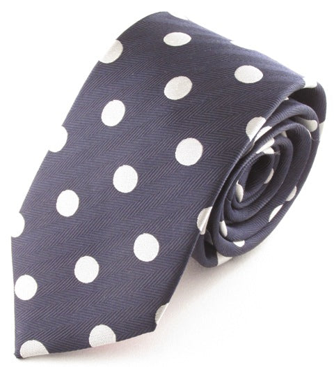 Navy Blue Silk Tie With Large White Polka Dots