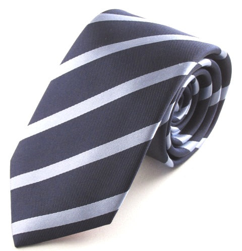 Striped Navy With Sky Silk Tie