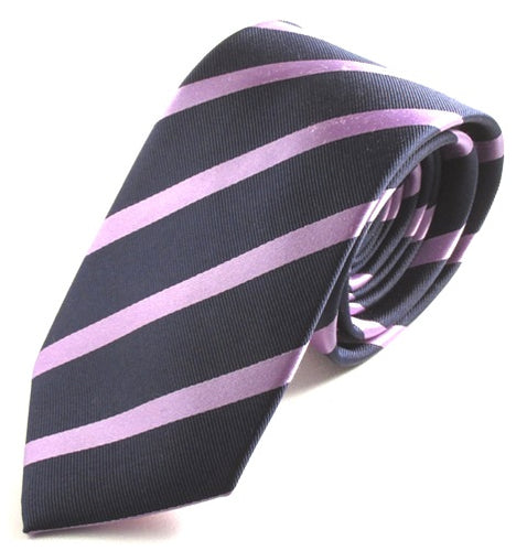 Striped Navy With Lilac Silk Tie
