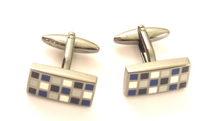 Blue Rectangle Tiles Novelty Cufflinks by Van Buck