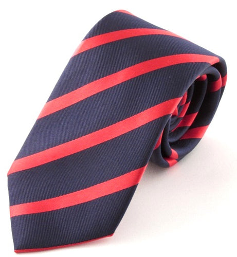 Striped Navy With Red Silk Tie