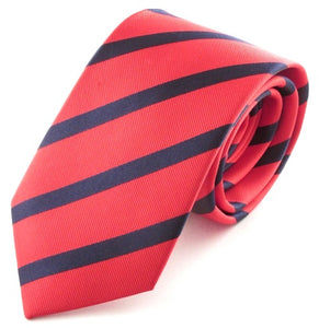 Striped Red With Navy Silk Tie