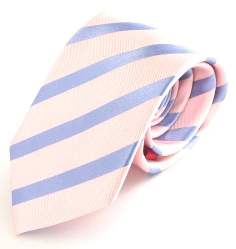 Striped Pink with Sky Silk Tie