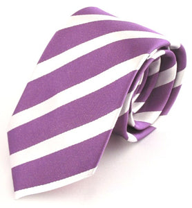 Striped Purple With White Silk Tie