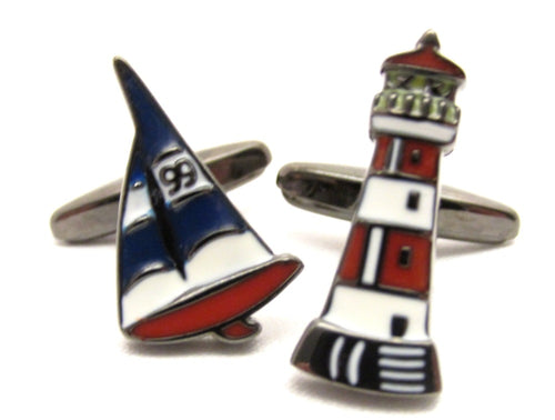 Sailing Boat & Lighthouse Novelty Cufflinks by Van Buck