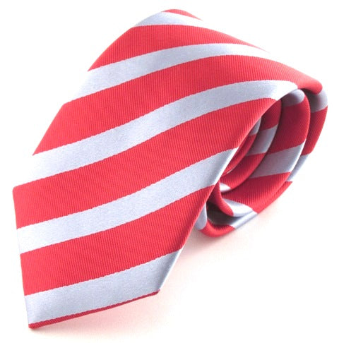Striped Red With Sky Silk Tie
