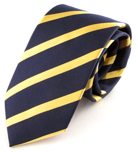 Striped Navy With Gold Silk Tie
