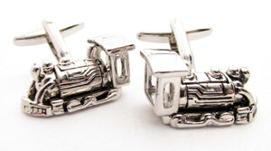 Silver Train Novelty Cufflinks by Van BuckSilver Train Novelty Cufflinks by Van Buck