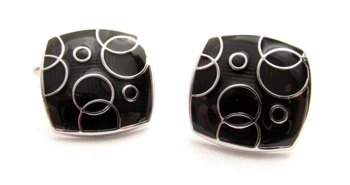 Black & Silver Bubble Cufflinks by Van Buck