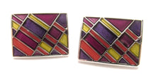 Purple Block Rectangle Novelty Cufflinks by Van Buck