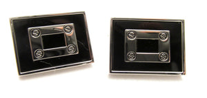 Black Rectangle Novelty Cufflinks by Van Buck