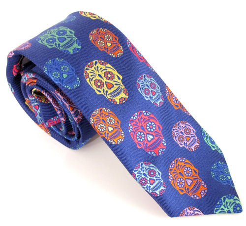 Limited Edition Navy Blue Wave with Green Skull Silk Tie by Van Buck