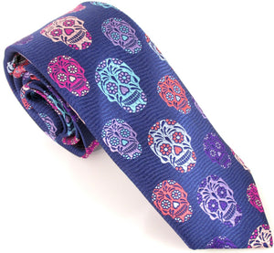 Limited Edition Navy Blue Wave with Purple Skull Silk Tie by Van Buck