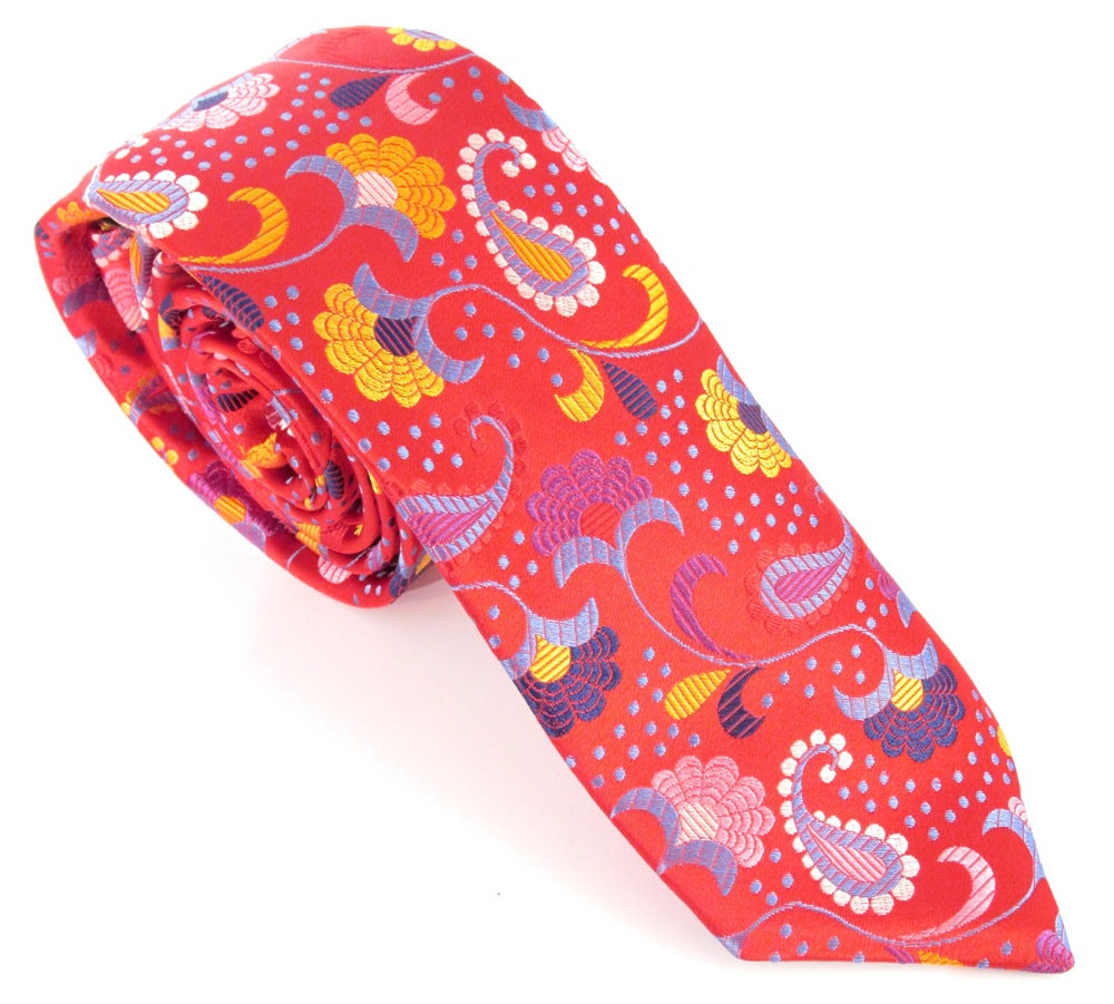 Limited Edition Detailed Red Paisley Silk Tie by Van Buck