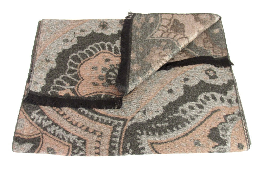 Black with Brown Large Paisley Reversible Scarf by Van Buck