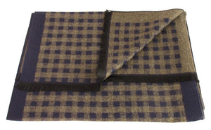 Brown Chequered Reversible Scarf by Van Buck