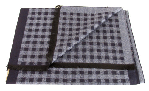 Blue Chequered Reversible Scarf by Van Buck