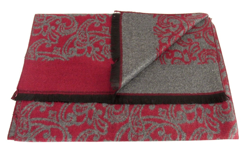 Red Detailed Paisley Reversible Scarf by Van Buck