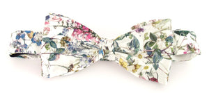 Wild Flowers Ivory Liberty Print Cotton Pre-Tied Bow by Van Buck