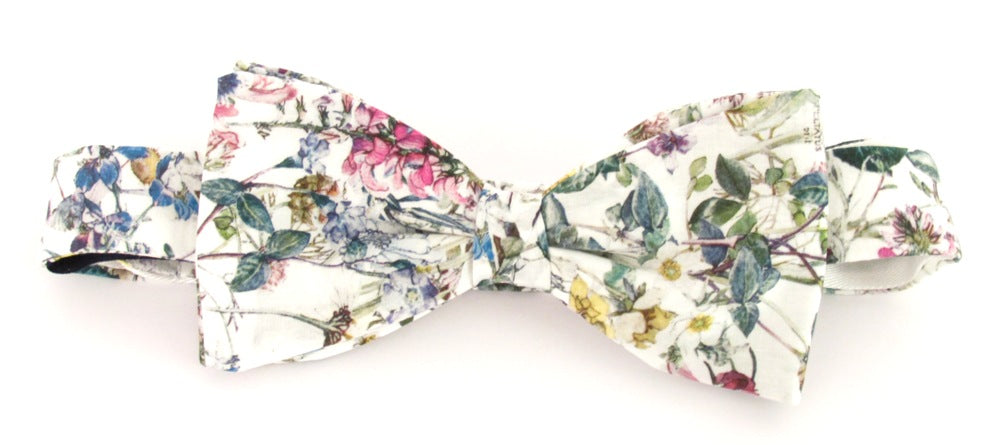 Wild Flowers Ivory Bow Tie Made with Liberty Fabric