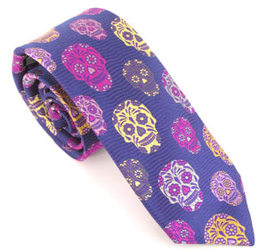 Limited Edition Purple Wavy Silk Skull Tie by Van Buck