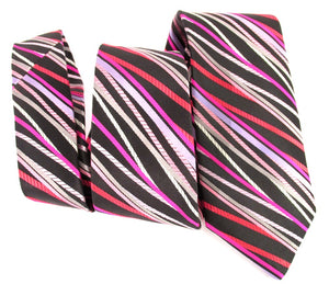 Limited Edition Black with Pink Striped Silk Tie by Van Buck