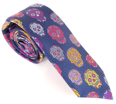 Limited Edition Navy Blue Wave with Orange Skull Silk Tie by Van Buck
