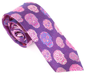 Limited Edition Cerise Wave with Lilac Skull Silk Tie by Van Buck