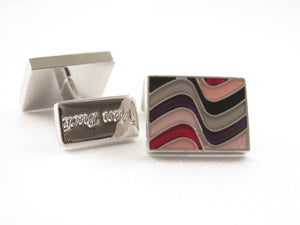 Limited Edition Pink Wave Rectangular Cufflinks by Van Buck