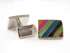 Limited Edition Navy Rectangular Cufflinks with Multicoloured Stripes by Van Buck