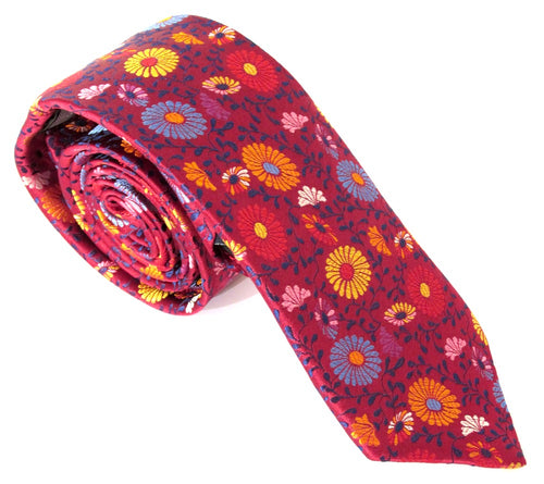 Limited Edition Red Daisy & Vine Silk Tie by Van Buck