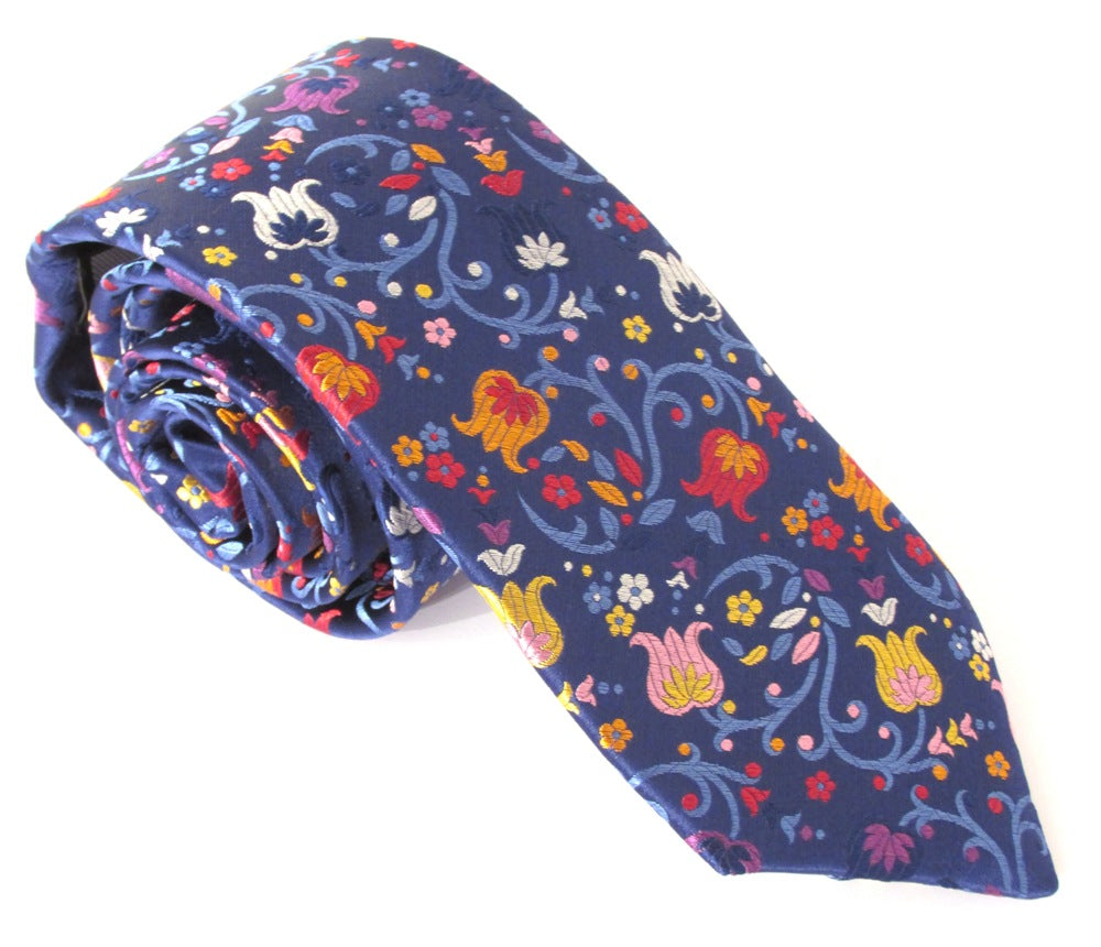 Limited Edition Navy Blue with Pastel Tulip & Vine Silk Tie by Van Buck