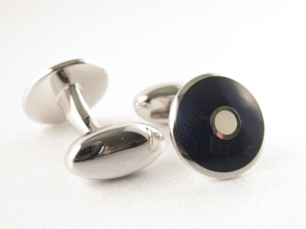 Limited Edition Circular Blue Cufflinks with White Spot by Van Buck